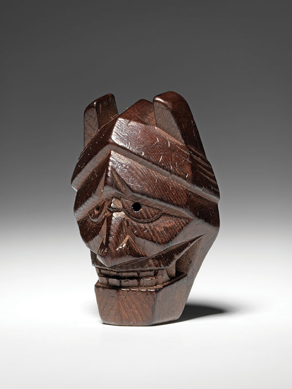 An ichii ittobori yew wood model of a Noh mask