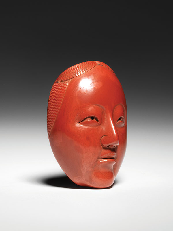 A red lacquer zoonna Noh mask netsuke