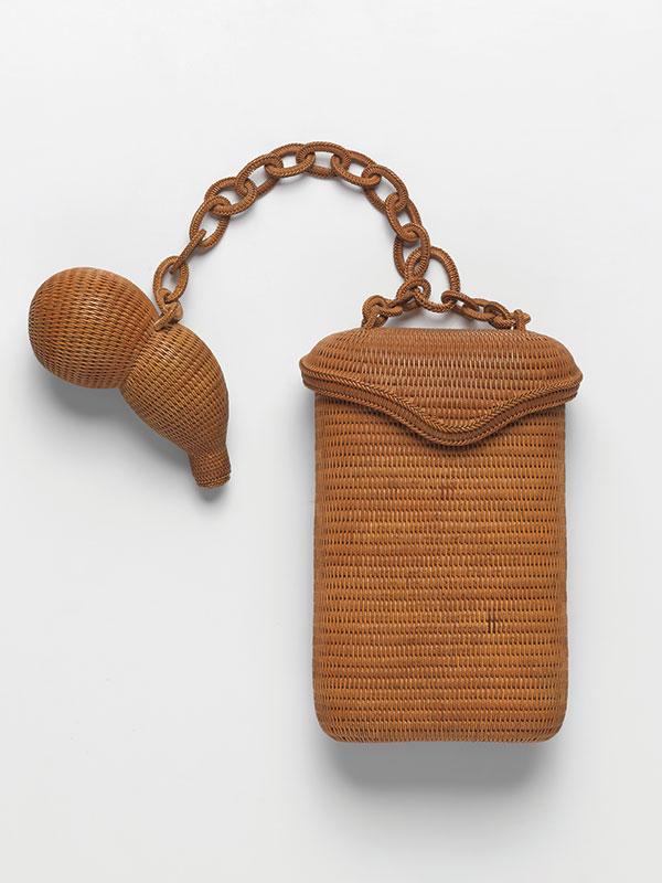 A woven pouch with en-suite gourd netsuke