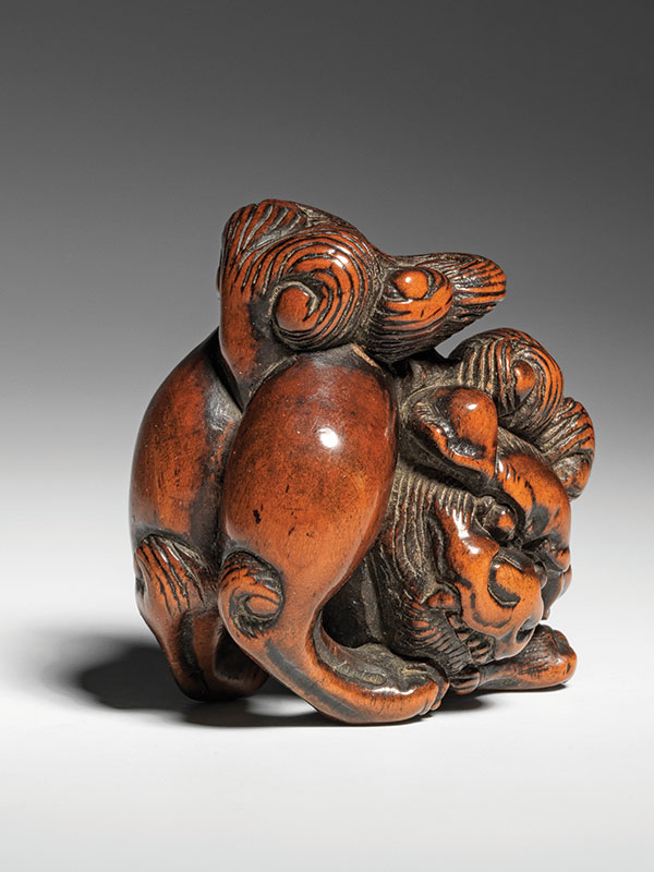 A bold wood netsuke of a shishi, its teeth bared