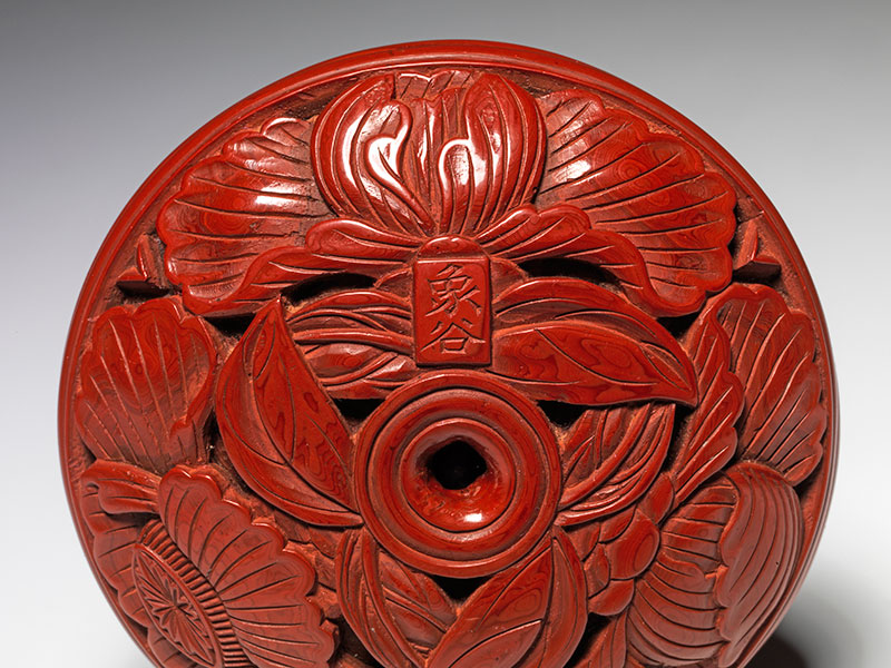 A tsuishu carved red lacquer seal box