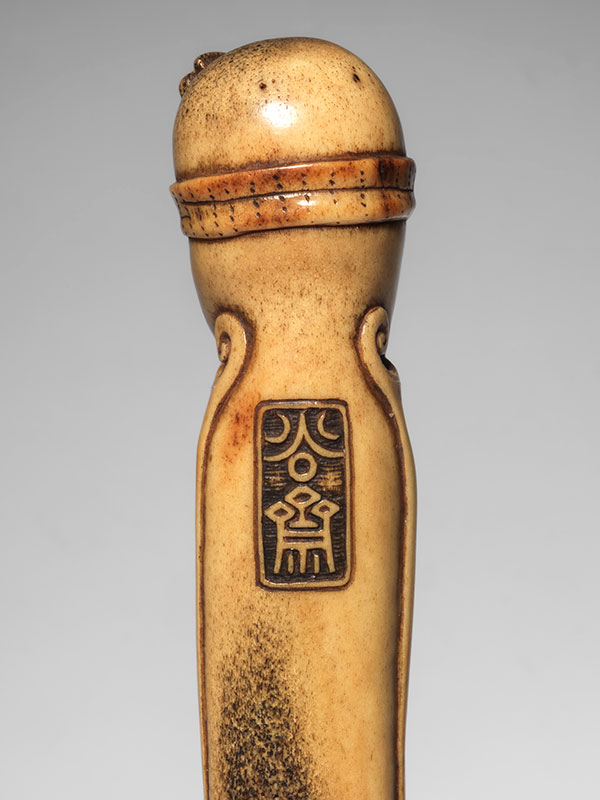 A stag antler obi-hasami netsuke of an octopus