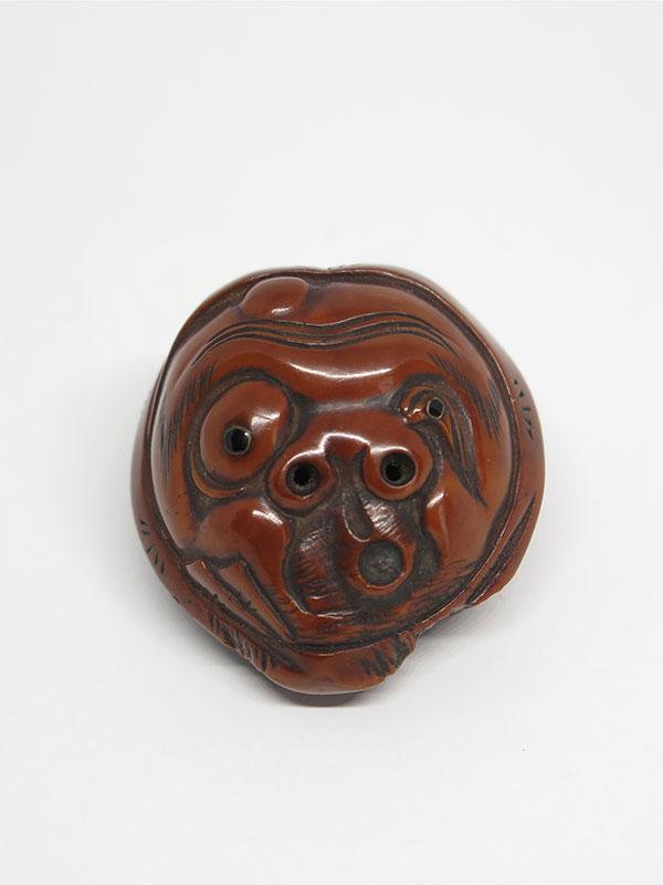 Gyokuzan kurumi mask netsuke