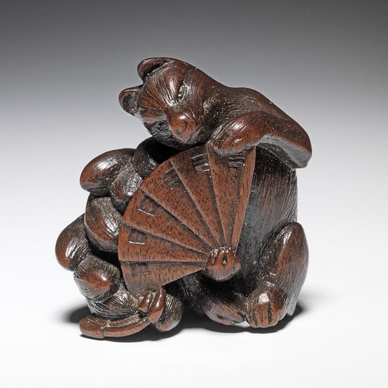 Nine tailed fox wooden netsuke