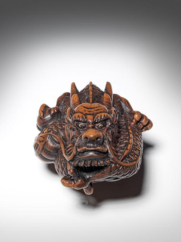Wood dragon netsuke