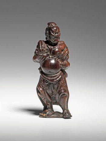 Miwa - Wood netsuke of a Ungyo