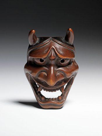 Boxwood netsuke of a Hannya mask - Deme Uman
