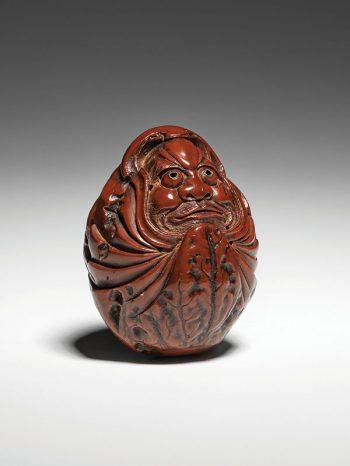 Shozan - carved kurumi of a Daruma