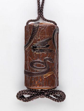 Snake and cicadas inro - Ganshosai Shunzui
