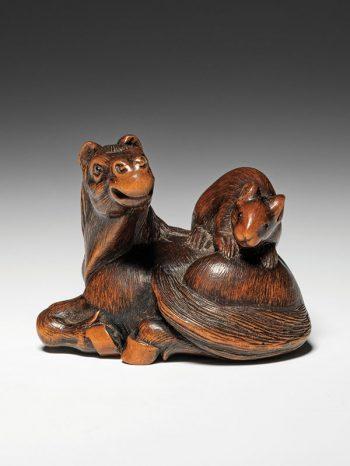 Masanao - horse and rat netsuke