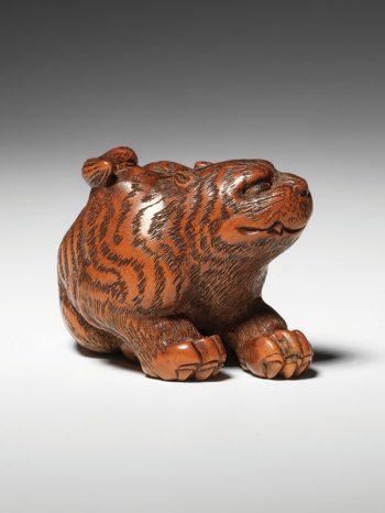 Kokei - wood netsuke of a tiger