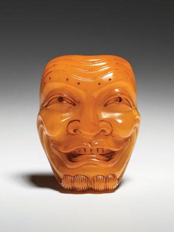 Sogyoku - amber Noh mask netsuke
