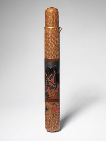 A woven rattan pipe case of musozutsu form