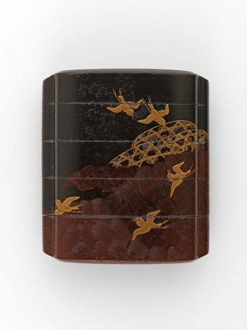 A four case inro with a design of plovers flying above waves