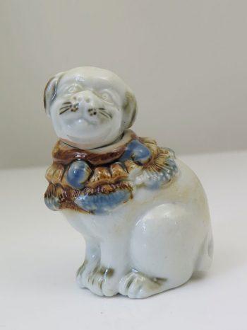 Ceramic netsuke dog