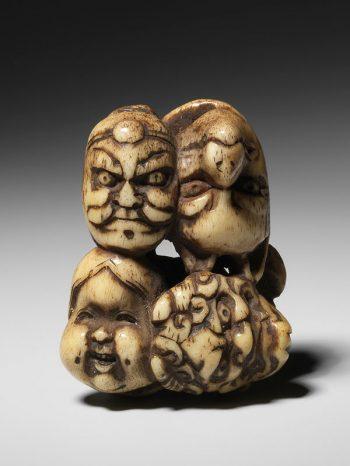 Unsigned - stag antler netsuke of seven kabuki masks