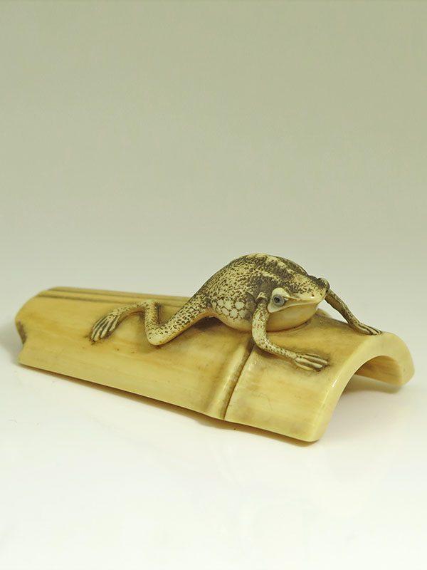 Sadayoshi netsuke frog on bamboo - Rosemary Bandini